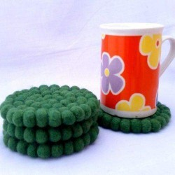 10cm Green Felt Ball Tea Coasters
