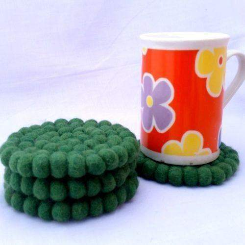10cm Green Felt Ball Tea Coasters by Mimosa Crafts