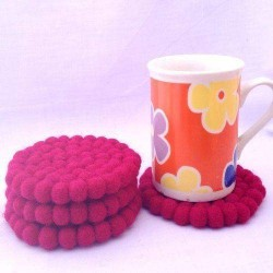 10cm Raspberry Felt Ball Tea Coasters