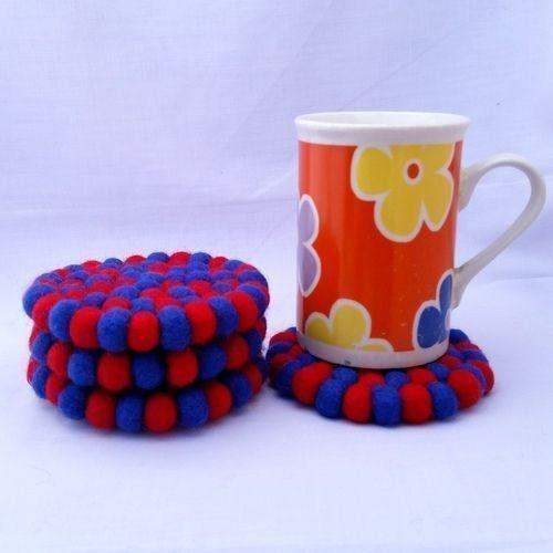 10cm Red and Blue Felt Ball Tea Coasters by www.mimosacrafts.com.au