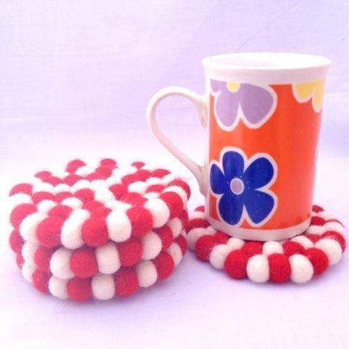 10cm Red and White Felt Ball Tea Coasters by www.mimosacrafts.com.au