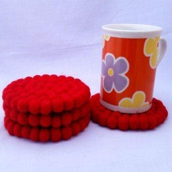 10cm Red Felt Ball Tea Coasters