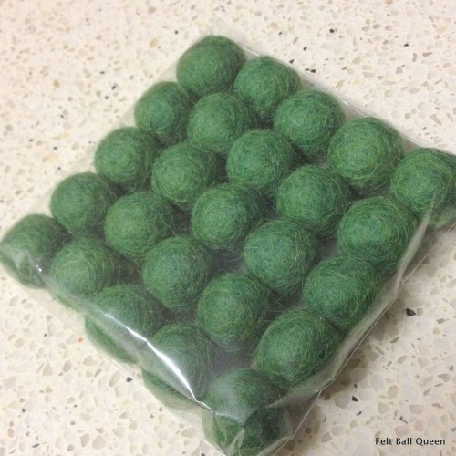 2cm Forest Green Felt Balls by Mimosa Crafts