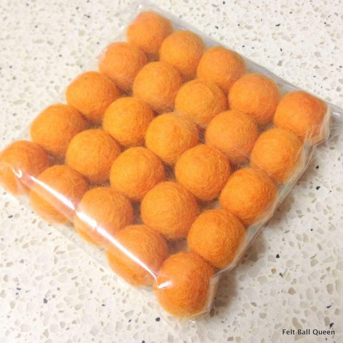 2cm Orange Felt Balls by Mimosa Crafts