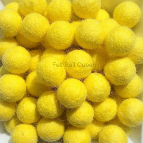 2cm Yellow Felt Balls by Mimosa Crafts