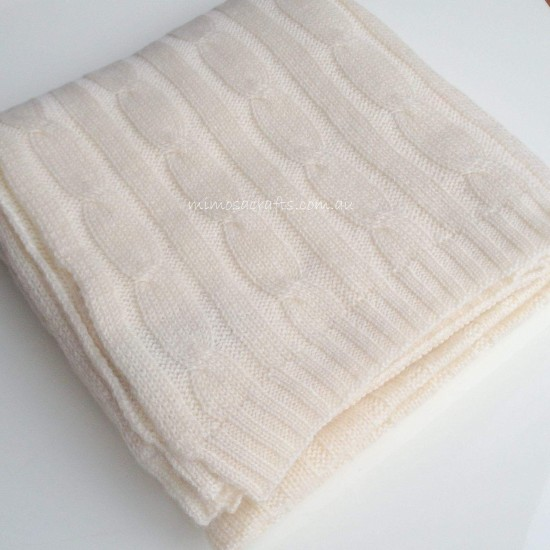 100% Cashmere Cable Knit Baby Blanket