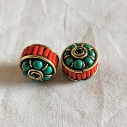 BD-217 Nepalese Handmade Brass, Turquoise, Lapis & Coral Beads