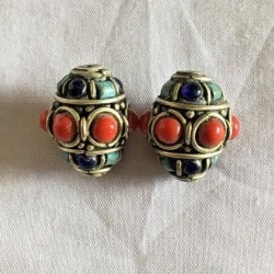 BD-218 Nepalese Handmade Brass, Turquoise & Coral Beads