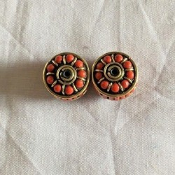 BD-216 Nepalese Handmade Brass & Coral Beads