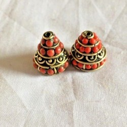 BD-215 Nepalese Handmade Brass & Coral Beads
