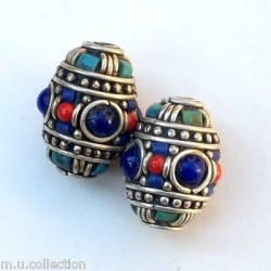 BD-202 Nepalese Handmade White Metal, Turquoise & Coral Beads