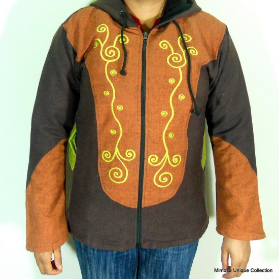 Women's Embroidered Cotton Hood Jacket