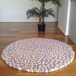 Pastel Coloured Felt Ball Rug