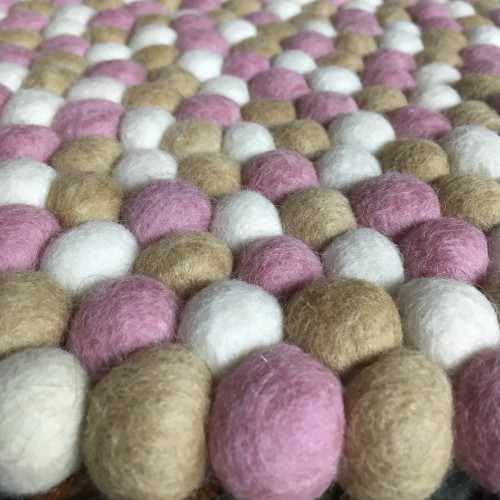 120cm Felt Ball Rug - Light Pink, White & Khaki Mix Pom Pom Rug by www.mimosacrafts.com.au