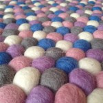 140cm Felt Ball Rug - Grey White Lilac Light Pink & Blue Mix Rug by Mimosa Crafts
