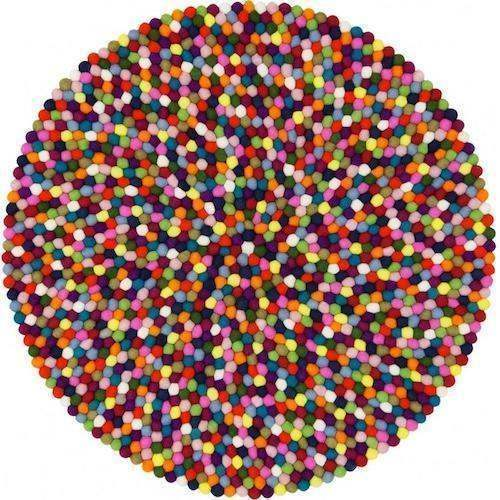 160cm Multicolour Felt Ball Rug by Mimosa Crafts