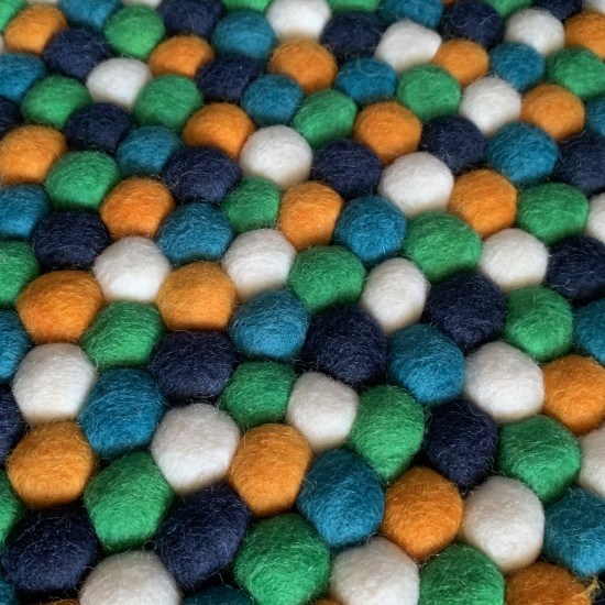 100cm Felt Ball Rug - Orange Navy White Teal & Lemon Mixed Nursery Rug