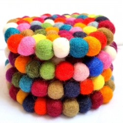 Multicolour Felt Ball Tea Coasters