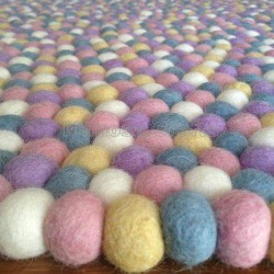 100cm Pastel Colour Felt Ball Rug