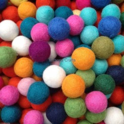 2cm Multicolour Felt Balls - Wholesale Lot