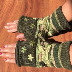 Hand Knitted Warm Finger-less Gloves Nepalese Woolen Mittens