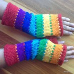 Hand Knitted Woollen Gloves Fleece Lined Fingerless Wrist Mittens
