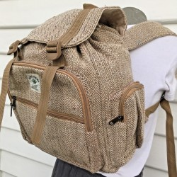 100% THC FREE Hemp Backpack - Hippie Retro Nepalese Handmade Travel Laptop Bag