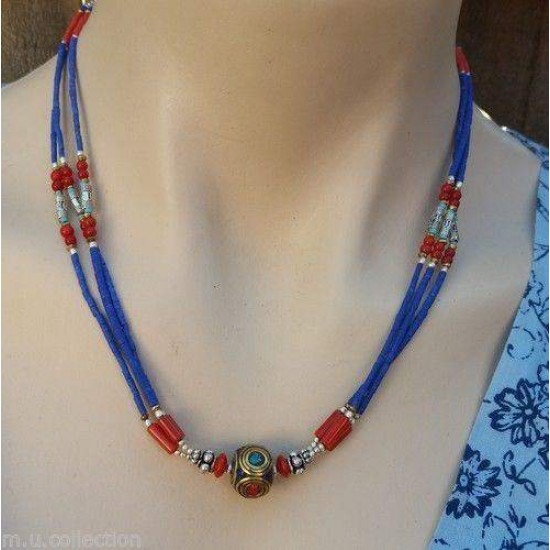 Nepalese Handmade Tibetan Turquoise Coral Necklace