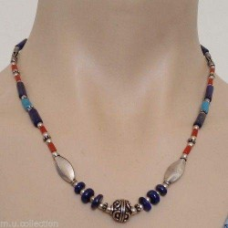 Nepalese Tibetan White Metal Coral Lapis Beads Necklace