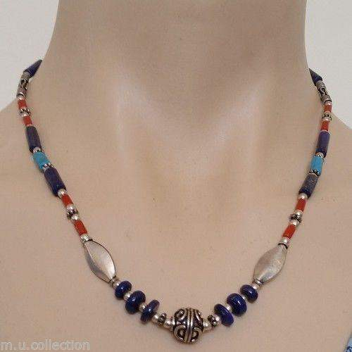 Nepalese Tibetan White Metal Coral Lapis Beads Necklace by www.mimosacrafts.com.au
