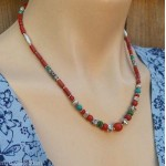 Tibetan Ethnic Coral and White Metal Necklace