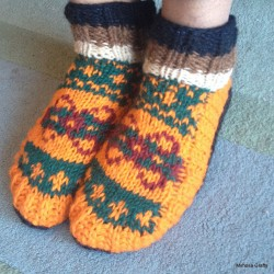 Nepalese Hand Knitted Woollen Warm Unisex Orange Green Socks