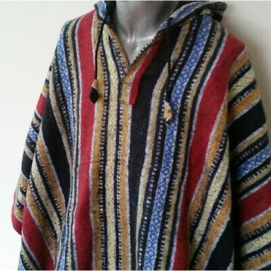 Mexican Style Hooded Poncho