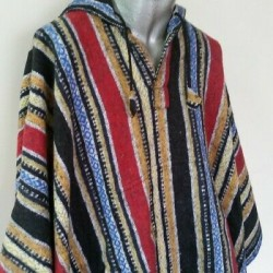 Mexican Style Hooded Poncho - Men's and Women's Cotton Cape