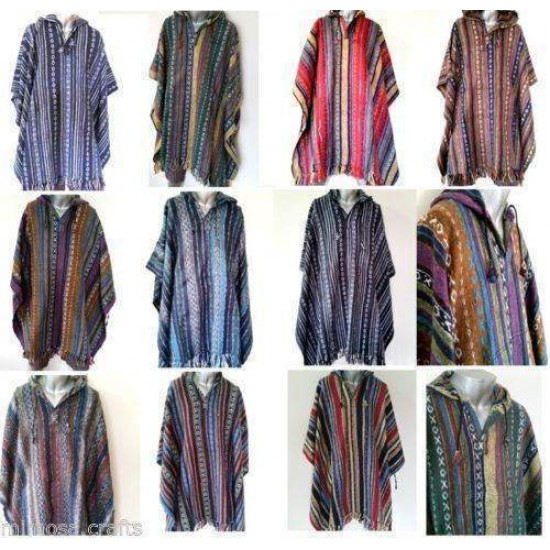 Hooded Poncho - Mexican Style Baja Style Gheri Cotton Cape