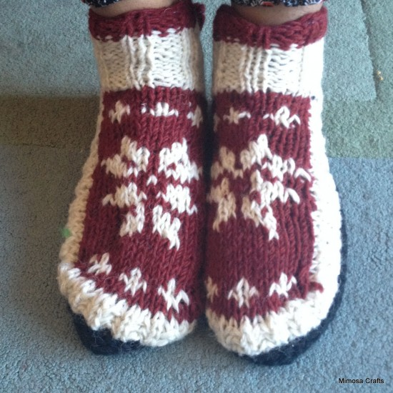 Maroon & White Hand-Knitted Socks