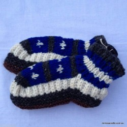 Hand Knitted woollen Socks - Black White & Blue