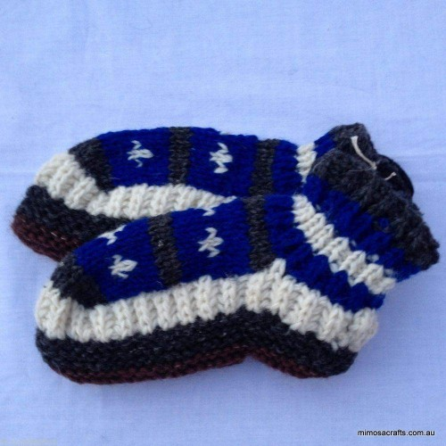 Hand Knitted woollen Socks - Black White & Blue by Mimosa Crafts
