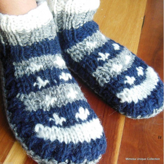 Navy Blue & Grey Hand-Knitted Socks