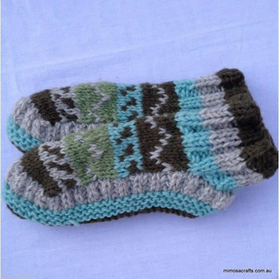 Hand Knitted Woollen Socks - Room Shoes