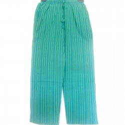 Light Cotton Green Aqua Striped Unisex Yoga Trouser