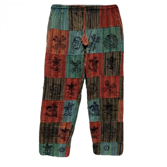 OM Printed Light Cotton Multi-patched Trouser