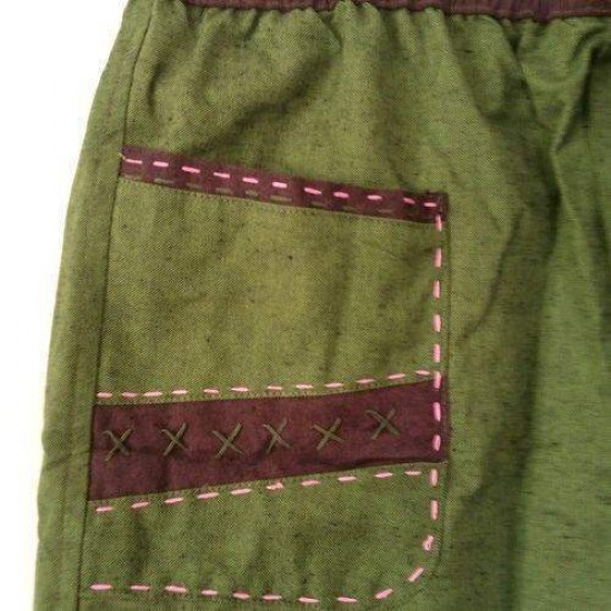 Green Hand Embroidered Cotton Shorts