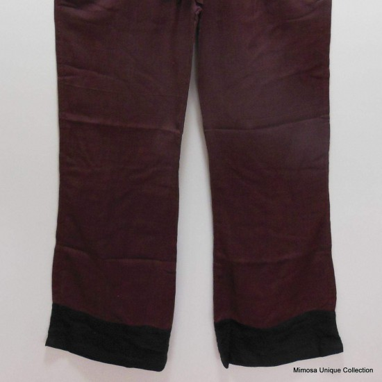 Womens Brown Cotton Yoga Trouser
