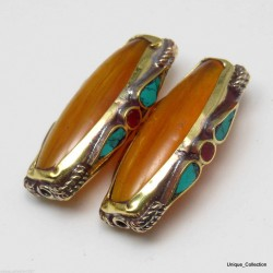 Amber Brass Turquoise Coral Beads BD-84