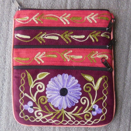 Floral Hand Embroidered Multi Purpose Bag by www.mimosacrafts.com.au