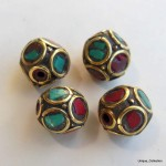 BD-117  Turquoise Coral  Polygon Beads by Mimosa Crafts