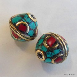 BD-118 Turquoise Coral Bi-cone Beads