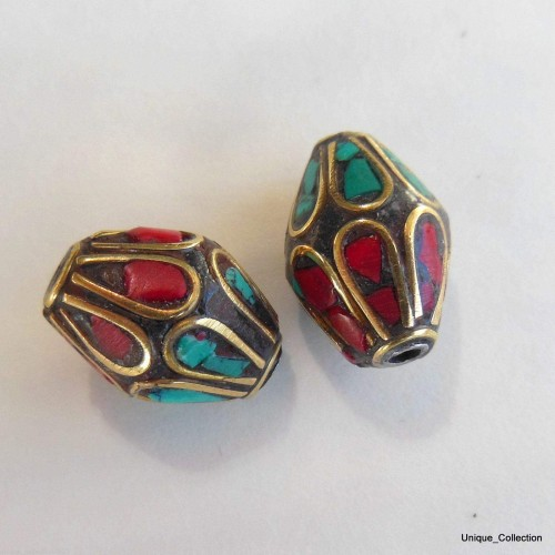 BD-128 Turquoise Coral Jewelery Bicone Beads by Mimosa Crafts
