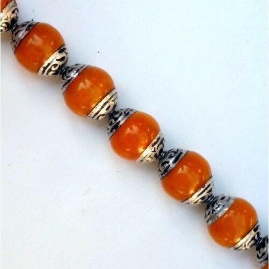 Metal Capped Amber Beads BD-213